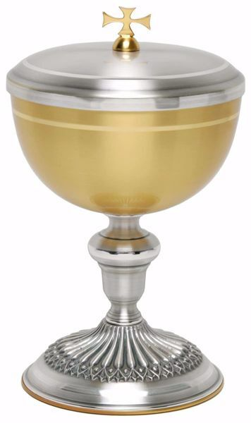 Picture of Liturgical Ciborium H. cm 20,5 (8,1 inch) smooth satin finish decorated base in brass Gold Silver