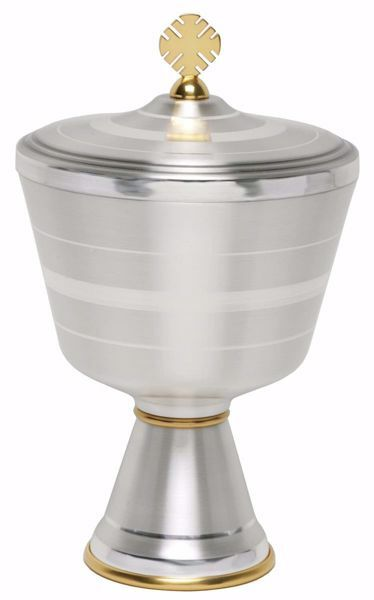 Picture of Liturgical Ciborium H. cm 20,5 (8,1 inch) smooth satin modern style in brass Gold Silver