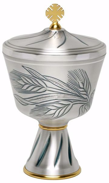 Picture of Liturgical Ciborium H. cm 20,5 (8,1 inch) Ears of Wheat in chiseled brass Gold Silver