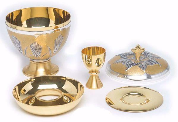 Immagine di Pisside liturgica Comunione sotto le due Specie H. cm 19 (7,5 inch) Spighe di Grano in ottone cesellato Argento Bicolor