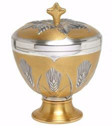 Picture of Liturgical Ciborium H. cm 17 (6,7 inch) Ears of Wheat in chiseled brass Silver Bicolor