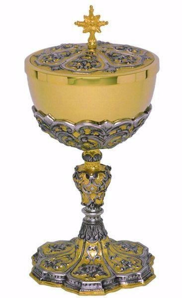 Immagine di Pisside liturgica H. cm 24,5 (9,6 inch) stile Barocco Angeli Cherubini in ottone con Coppa in Argento 800/1000 Bicolor