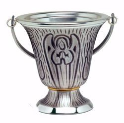 Picture of Holy Water Vat H. cm 12,5 (4,9 inch) Angel in brass Gold Silver blessed water Liturgical Aspersorium Bucket Pot