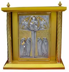 Picture of Altar Tabernacle 4 Columns cm 40x40x50 (15,7x15,7x19,7 inch) Christ Pantocrator in wood Bicolor for Church
