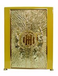 Picture of Altar Tabernacle with Exposition cm 30x30x44 (11,8x11,8x17,3 inch) Praying Hands Cross IHS Rays of Light in brass Gold for Church