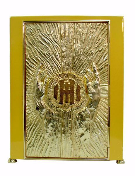 Immagine di Tabernacolo da Mensa con Espositore cm 30x30x44 (11,8x11,8x17,3 inch) Mani oranti Croce IHS Raggi di Luce ottone Oro Ciborio da Altare