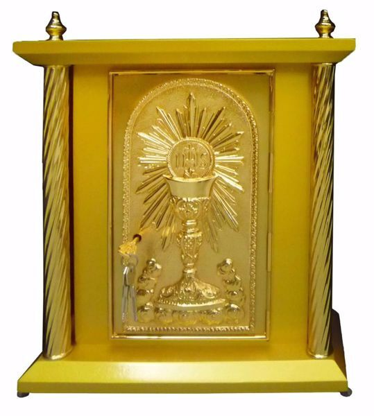 Picture of Large size Altar Tabernacle 4 Columns cm 40x40x50 (15,7x15,7x19,7 inch) Chalice in wood Gold for Church