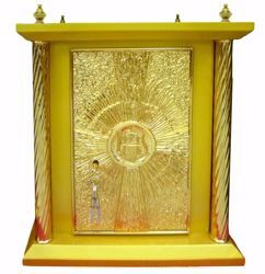 Picture of Large size Altar Tabernacle 4 Columns cm 40x40x50 (15,7x15,7x19,7 inch) Cross IHS Rays of Light in wood Gold for Church