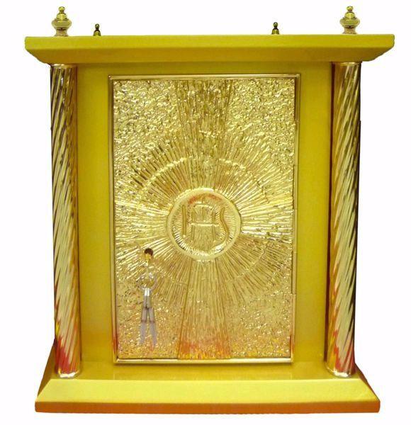 Imagen de Sagrario de mesa grande 4 Columnas cm 40x40x50 (15,7x15,7x19,7 inch) Cruz IHS Rayos de Luz madera Oro Tabernáculo de Altar Iglesia