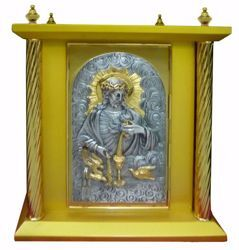Picture of Large size Altar Tabernacle 4 Columns cm 40x40x50 (15,7x15,7x19,7 inch) Sacred Heart of Jesus in wood Bicolor for Church