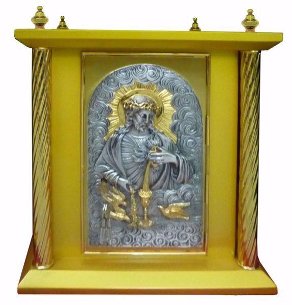Imagen de Sagrario de mesa grande 4 Columnas cm 40x40x50 (15,7x15,7x19,7 inch) Sagrado Corazón de Jesús madera Bicolor Tabernáculo de Altar