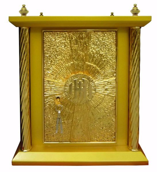 Imagen de Sagrario de mesa grande 4 Columnas con Exposición cm 40x40x50 (15,7x15,7x19,7 inch) Cruz IHS Rayos de Luz madera Oro Tabernáculo de Altar