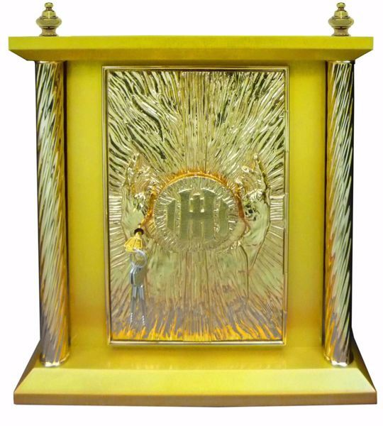 Imagen de Sagrario de mesa grande 4 Columnas con Exposición cm 40x40x50 (15,7x15,7x19,7 inch) Manos en Oración Cruz IHS Rayos de Luz madera Oro