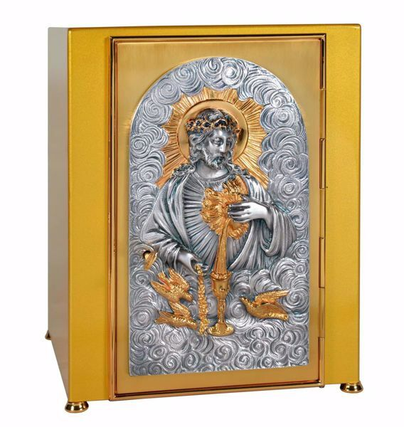 Picture of Large size Altar Tabernacle cm 30x30x44 (11,8x11,8x17,3 inch) Sacred Heart of Jesus in brass Bicolor for Church
