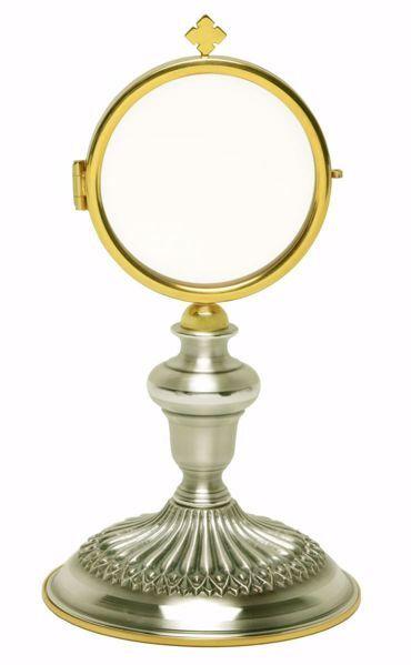 Imagen de Ostensorio Custodia con Exposición H. cm 20 (7,9 inch) acabado liso satinado latón Oro Plata para Santísimo Sacramento Iglesia
