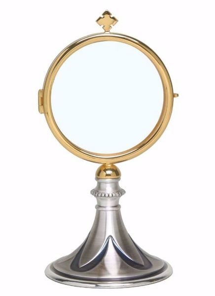 Picture of Eucharistic Shrine Monstrance Diam. cm 8 (3,1 inch) Petals in brass Gold Ostensorium for Blessed Sacrament Exposition