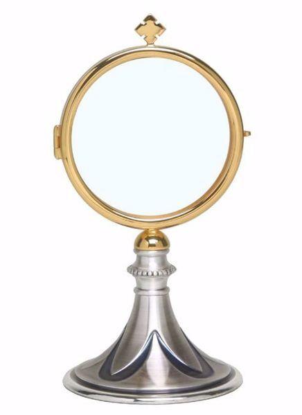 Immagine di Teca Eucaristica Ostensorio Diam. cm 8 (3,1 inch) Petali in ottone Oro per esposizione Santissimo Sacramento Chiesa