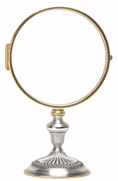 Immagine di Teca Eucaristica Ostensorio Ostia Magna cm 15 (5,9 in) H. cm 26,5 (10,4 inch) finitura liscia satinata in ottone Oro Argento