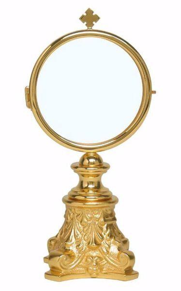 Imagen de Ostensorio Custodia Diam. cm 8 (3,1 inch) Estilo Barroco de latón Oro para Santísimo Sacramento Iglesia