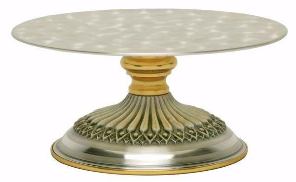 Immagine di Tronetto Base per Ostensorio da Altare H. cm 6,5 (2,7 inch) finitura liscia satinata piede decorato in ottone Oro Argento