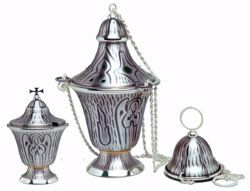 Picture of Thurible Boat JHS Angel Holy Spirit in brass Gold Silver Church liturgical Censer for Mass