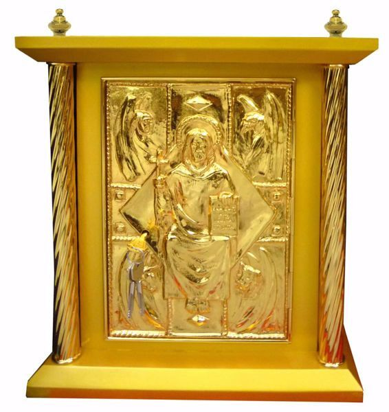 Picture of Large size Altar Tabernacle 4 Columns cm 40x40x50 (15,7x15,7x19,7 inch) Christ Pantocrator Four Evangelists in wood Gold Bicolor for Church