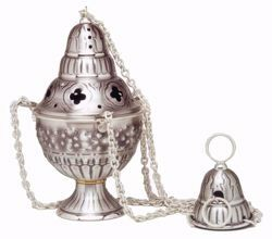 Picture of Thurible Boat Grapes in chiseled brass Gold Silver Church liturgical Censer for Mass