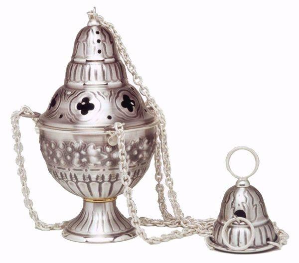 Immagine di Turibolo Navicella Uva in ottone cesellato Oro Argento Incensiere con Navetta per Incenso Messa