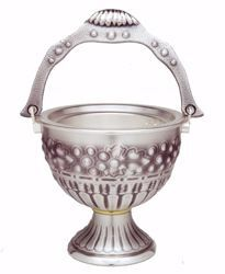 Picture of Holy Water Vat H. cm 12 (4,7 inch) Grapes in chiseled brass Gold Silver blessed water Liturgical Aspersorium Bucket Pot