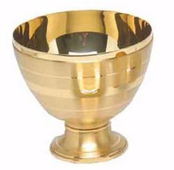 Picture of Liturgical Paten Ciborium H. cm 10 (3,9 inch) smooth satin finish in burnished brass Gold Silver