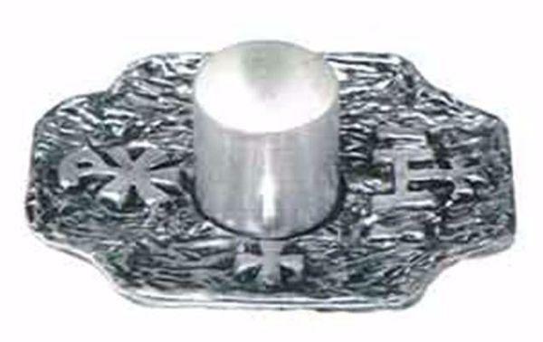 Immagine di Candeliere da Altare H. cm 5 (2,0 inch) Croce Pax Simboli religiosi in bronzo Oro Argento Portacandela liturgico Lumiera da Chiesa