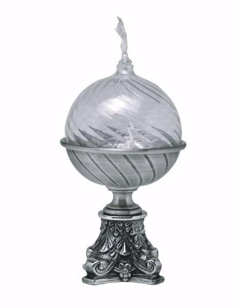Imagen de Candelero litúrgico de Altar cera líquida H. cm 17 (6,7 inch) estilo barroco base cincelada de latón Oro Plata Portavela de Mesa Iglesia