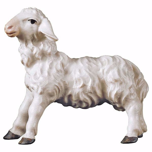 Picture of Standing Lamb cm 10 (3,9 inch) hand painted Ulrich Nativity Scene Val Gardena wooden Statue baroque style