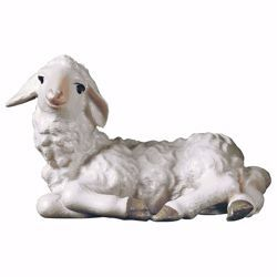 Picture of Lying Lamb cm 10 (3,9 inch) hand painted Ulrich Nativity Scene Val Gardena wooden Statue baroque style