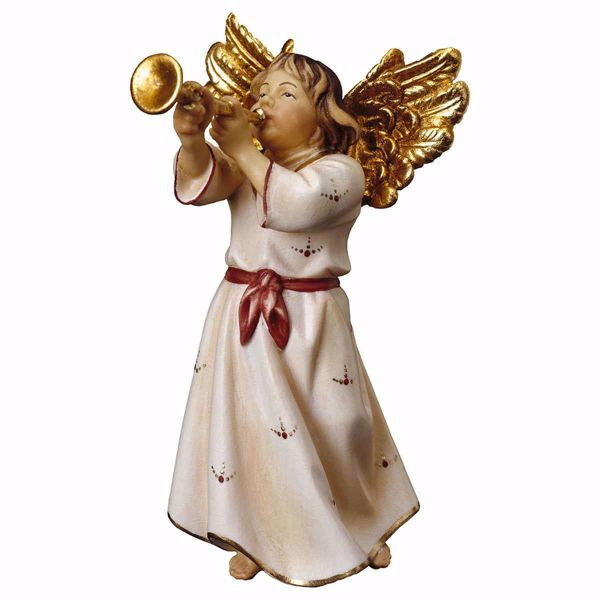 Picture of Angel with trumpet cm 10 (3,9 inch) hand painted Ulrich Nativity Scene Val Gardena wooden Statue baroque style