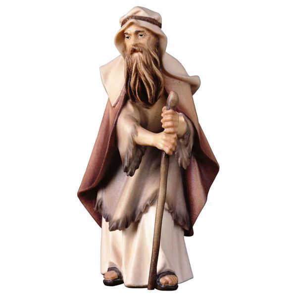 Picture of Old Herder with Crook cm 10 (3,9 inch) hand painted Ulrich Nativity Scene Val Gardena wooden Statue baroque style
