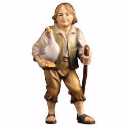 Picture of Boy with goose cm 10 (3,9 inch) hand painted Ulrich Nativity Scene Val Gardena wooden Statue baroque style