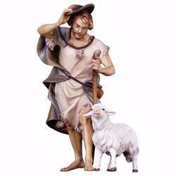 Imagen de Pastor con bastón y oveja cm 10 (3,9 inch) Belén Ulrich pintado a mano Estatua artesanal de madera Val Gardena estilo barroco
