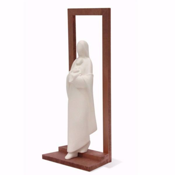 Picture of Madonna with Child on the way out simple frame cm 32 (12,6 inch) Wall / Desk Sculpture in white clay Ceramica Centro Ave Loppiano