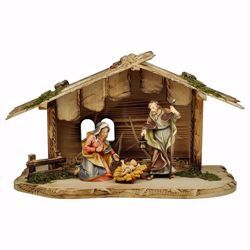 Picture of Ulrich Nativity Set 5 Pieces cm 10 (3,9 inch) hand painted Val Gardena wooden Statues