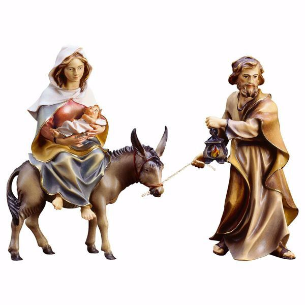 Picture of Flight to Egypt 4 Pieces cm 10 (3,9 inch) hand painted Ulrich Nativity Scene Val Gardena wooden Statues baroque style