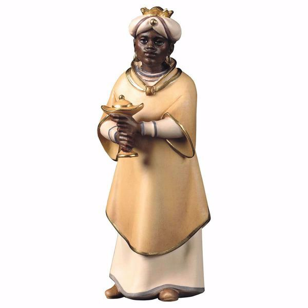 Picture of Balthazar Black Wise King standing cm 10 (3,9 inch) hand painted Comet Nativity Scene Val Gardena wooden Statue traditional Arabic style