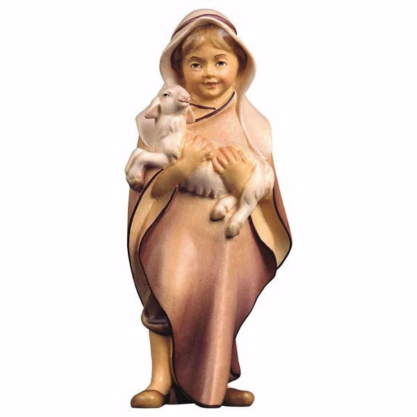 Picture of Child with Lamb cm 10 (3,9 inch) hand painted Comet Nativity Scene Val Gardena wooden Statue traditional Arabic style
