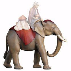 Imagen de Elefante de pie cm 10 (3,9 inch) Belén Cometa pintado a mano Estatua artesanal de madera Val Gardena estilo Árabe tradicional