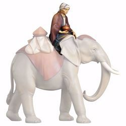 Picture of Sitting elephant driver cm 10 (3,9 inch) hand painted Comet Nativity Scene Val Gardena wooden Statue traditional Arabic style