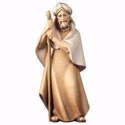 Immagine di Pastore con bastone cm 10 (3,9 inch) Presepe Cometa dipinto a mano Statua artigianale in legno Val Gardena stile Arabo tradizionale