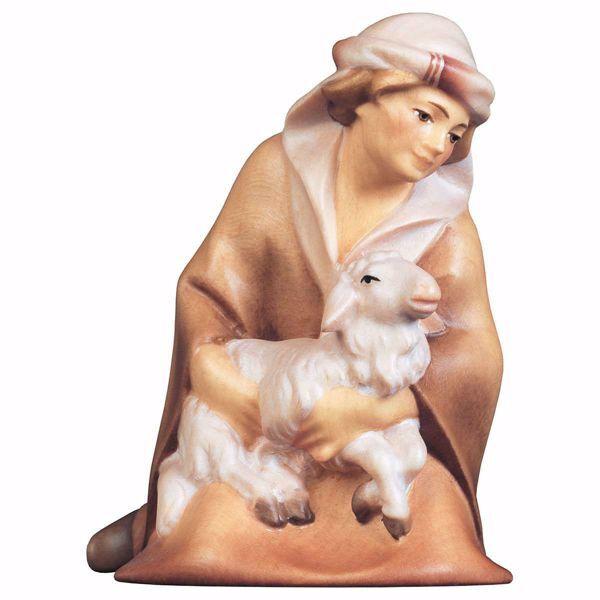 Imagen de Pastor arrodillado con Cordero cm 10 (3,9 inch) Belén Cometa pintado a mano Estatua artesanal de madera Val Gardena estilo Árabe tradicional