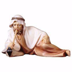 Immagine di Pastore sdraiato con pipa-bambù cm 10 (3,9 inch) Presepe Cometa dipinto a mano Statua artigianale in legno Val Gardena stile Arabo tradizionale