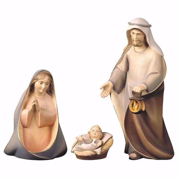 Picture of Holy Family 4 pieces cm 10 (3,9 inch) hand painted Comet Nativity Scene Val Gardena wooden Statues traditional Arabic style