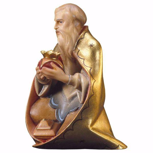 Immagine di Melchiorre Re Magio Mulatto inginocchiato cm 10 (3,9 inch) Presepe Redentore dipinto a mano Statua artigianale in legno Val Gardena stile tradizionale